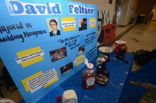 "<h5>David Feltner Sign</h5><p>A sign remembering the late David Feltner stood by PUDM's ""Pie a Pi Kapp"" fund-raiser.</p>"