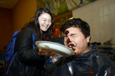 "<p>David Osma gets his chocolate syrup ""pie.""</p>"