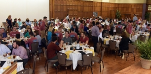 <p>A crowd of nearly 300 attended the Moms Day banquet in the North Ballroom of the Purdue Memorial Union.</p>